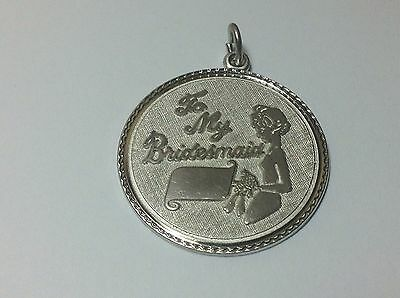 Wedding Attendant Gifts (Sterling Silver BRIDESMAID Charm Pendant 1