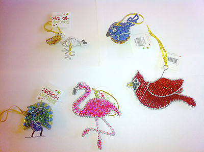 Beadworx Bird Ornaments Flamingo Peacock Cardinal Pelican Blue Or Bird In Nest ](Flamingo Ornaments)