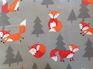 ~FLANNEL~ Fox ~ Quilting ~ Fabric ~ Flannelette ~ Grey~ Foxes ~  Boys~ Baby~ FQ
