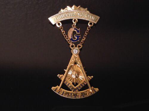14k Gold 1941 FREEMASONRY PAST MASTER Masonic MEDAL w/ DIAMOND Badge Pin