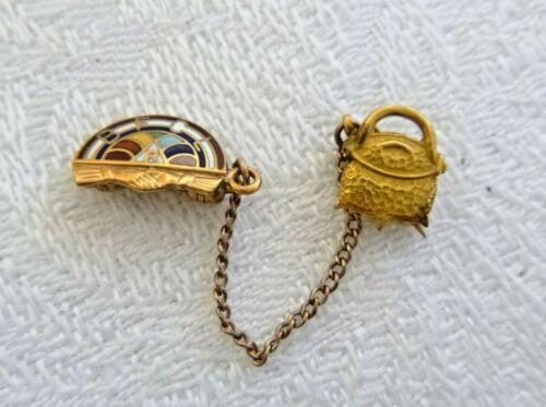Vintage 10K Yellow Gold BFCL Rainbow Girls Pin Enamel 1.5 grams