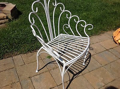 White French Metal Vanity Chair Bath Bedroom Outdoor Weatherproof Stool Bench