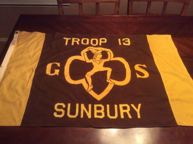 Sunbury PA Vintage Girl Scout Flag Brownies 1950s Troop Flag