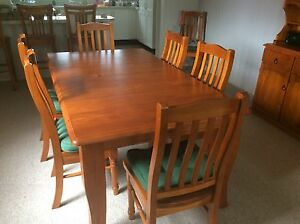 Extendable Timber dining table and 8 chairs Elanora Heights Pittwater Area Preview