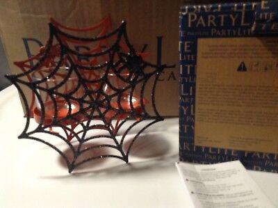 PARTYLITE HALLOWEEN SPIDER WEB VOTIVE TEALIGHT CANDLE Holder New RARE P93153 - Partylite Halloween Tealights