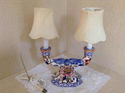 Gien France hand painted double candlestick lamp chinoiserie flowers peonies EUC