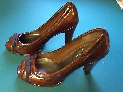 Linea Paolo Metallic Copper Patent Peep Toe Heels (Metallic Patent Peep Toe Heels)