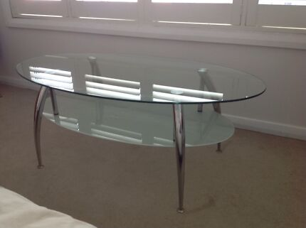 Modern Oval Clear Glass Coffee Table with Frosted Shelf Woy Woy Gosford Area Preview