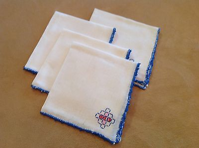 Four Vintage Cotton Napkins, White, Blue, Red, Pink Embroidery, Blue Trim Edge