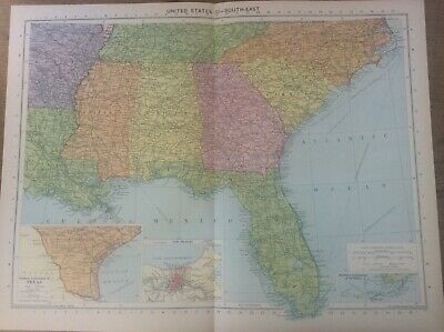 Vintage Antique 1939 Philips Map 20x15 United States South East New Orleans US