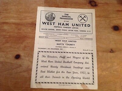 WEST HAM UNITED v NOTTS COUNTY 25/12/1952*Good Condition Football Programme*