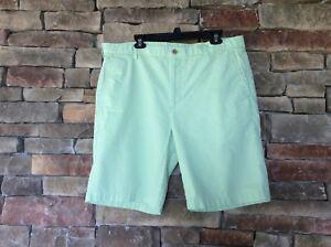 IZOD GOLF Mens Seersucker Shorts Size 38 Green / White Check Cotton Casual NWOT