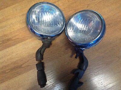 Pair OLDSMOBILE Fog Driving light LAMP guide 5-3/4 glass mounting BRACKET 6volt