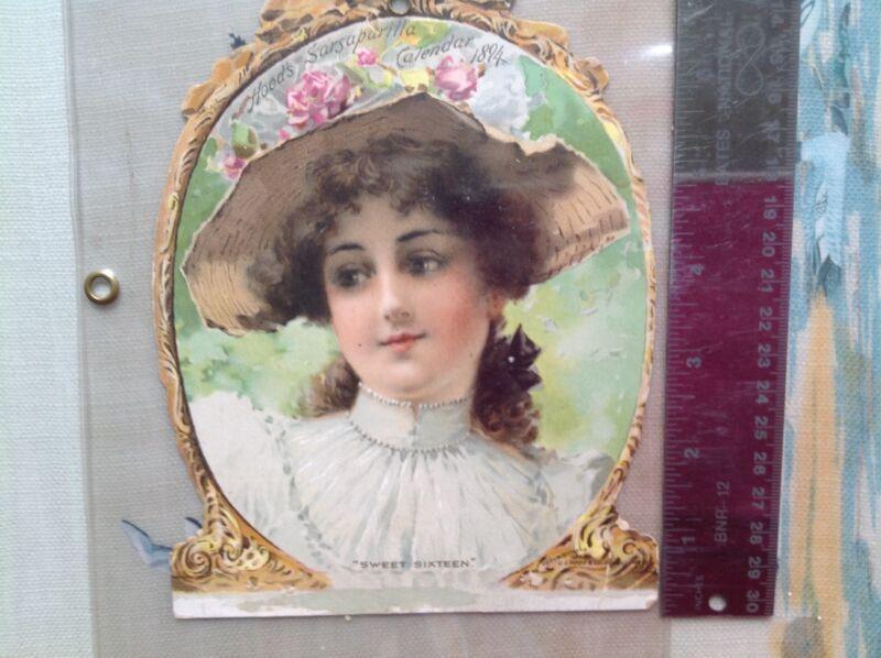 ANTIQUE POSTCARD,   CALENDAR 1894