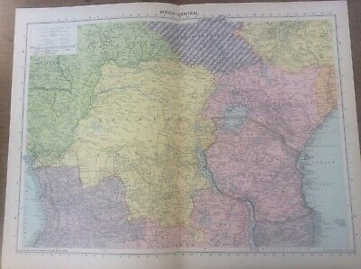 Vintage Antique 1939 Philips Map 20x15 Africa Central