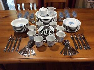 Stoneware Moonlight Geese 8 person Dinner and Cutlery Setting Karalee Ipswich City Preview