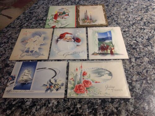 7 1940s Christmas cards;Santa Claus,glitter,sailing ship,candles,more! Unused