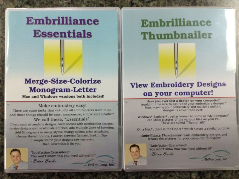 Embrilliance Essentials & Viewer / Thumbnailer Embroidery Software  Win/Mac & PC