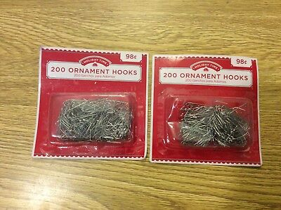 Holiday Time 2x 200 Silver Ornament Hooks Christmas Tree Decoration Wire Hangers