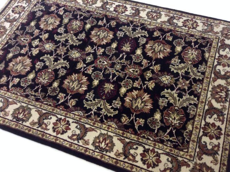4 X 6 Black Floral Oriental Area Rug Wool Handwoven Entrance Carpet