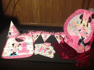 MINNIE MOUSE 1ST BIRTHDAY DECORATIONS HIGH CHAIR DECOR, CENTERPIECE PARTY HATS - Minnie Mouse Birthday Hats