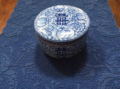 Double Happiness Blue and white round porcelain box