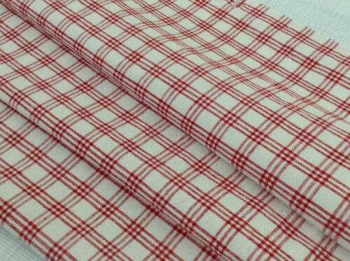 Antique Vintage French red /white plaid linen fabric upholstery decor