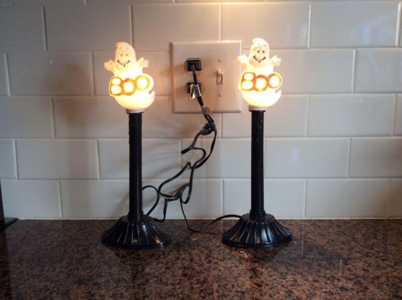 2 Vintage Halloween Blow Mold Lighted Candlesticks