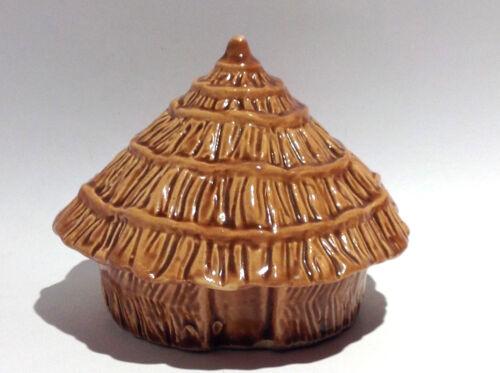 Vintage Ceramic Coin Bank: Grass Hut