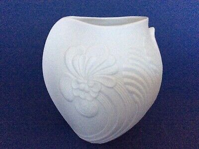 Kaiser White Bisque Porcelain Vase decorated with Hibiscus sign M . Frey Wedding