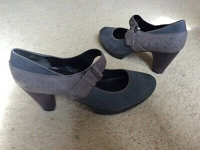 Ladies Högl mary jane grey suede leather two tone shoes UK 7.5 EU 41.5