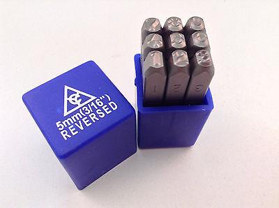 """Reversed 9pc 3/16"""" 5mm Steel Number Stamp Punch Die Set"""