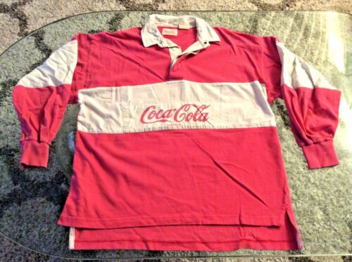 Coca-Cola Pink Rugby Style Shirt Adult Large Vintage