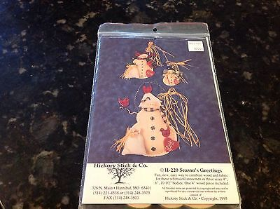 Craft Pattern H-220 Seasons Greetings Snowmen Hickory Stick & Co 1995 1 Wood (Wood Snowman Patterns)