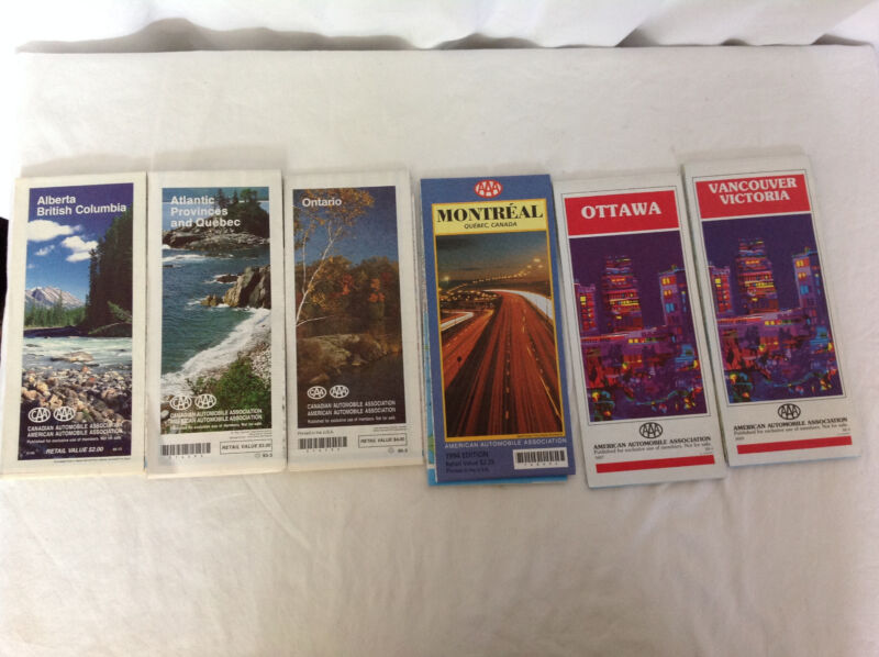 Lot of 6 AAA Canadian Road Maps