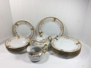 Nippon set 15 pieces heavy gold gilded