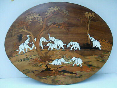 Vintage Asian Bone? Inlaid Wood Plaque with Elephants - 5% Multibuy discount