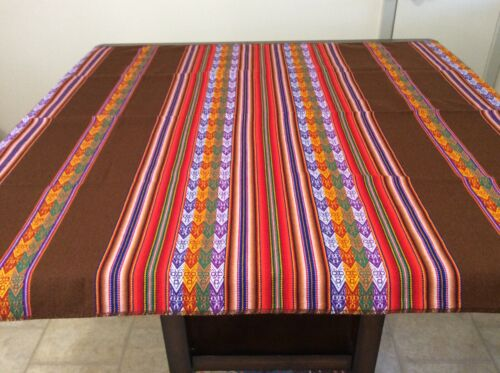 Gorgeous table cloth from Cuzco, Peru! Color Brown with multicolor stripes.