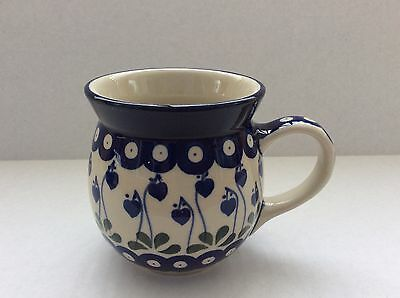 NEW C.A. Polish Pottery 16 oz Bubble Mug- Bleeding Heart