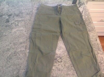 NWT WMS TOMMY HILFIGER CROP CAPRI PANTS/CUFFS six Pockets Sage-green SIZE 4