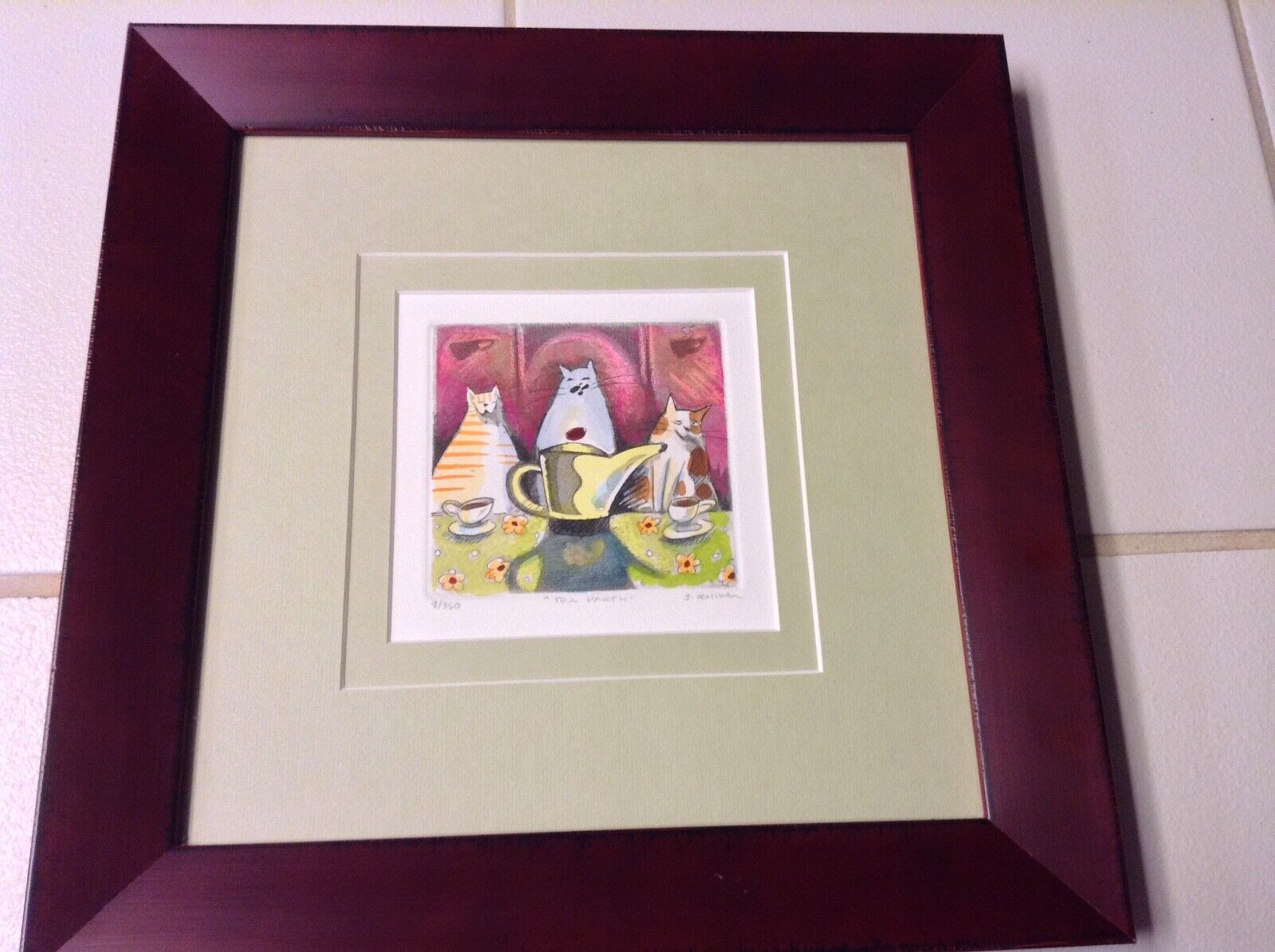 Hand Colored/signed And Numbered Etching Of CATS, TEA PARTY By J. Kullman  - $29.00