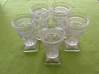 5 Imperial Clear Glass Aprox 5 In Tall  Stemmed Juice Glasses. Square Bottom