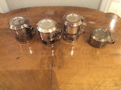 Vintage Antique Silver plated coffee glass holders with glasses, stands, lids