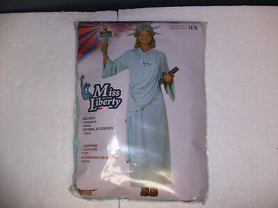 MISS LIBERTY STATUE OF LIBERTY WOMEN HALLOWEEN COSTUME ONE SIZE UP TO 14/16 - Halloween Statue Liberty Costume