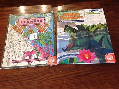 2 Mindware Coloring Book Celtic Flowers  & Hidden Predators