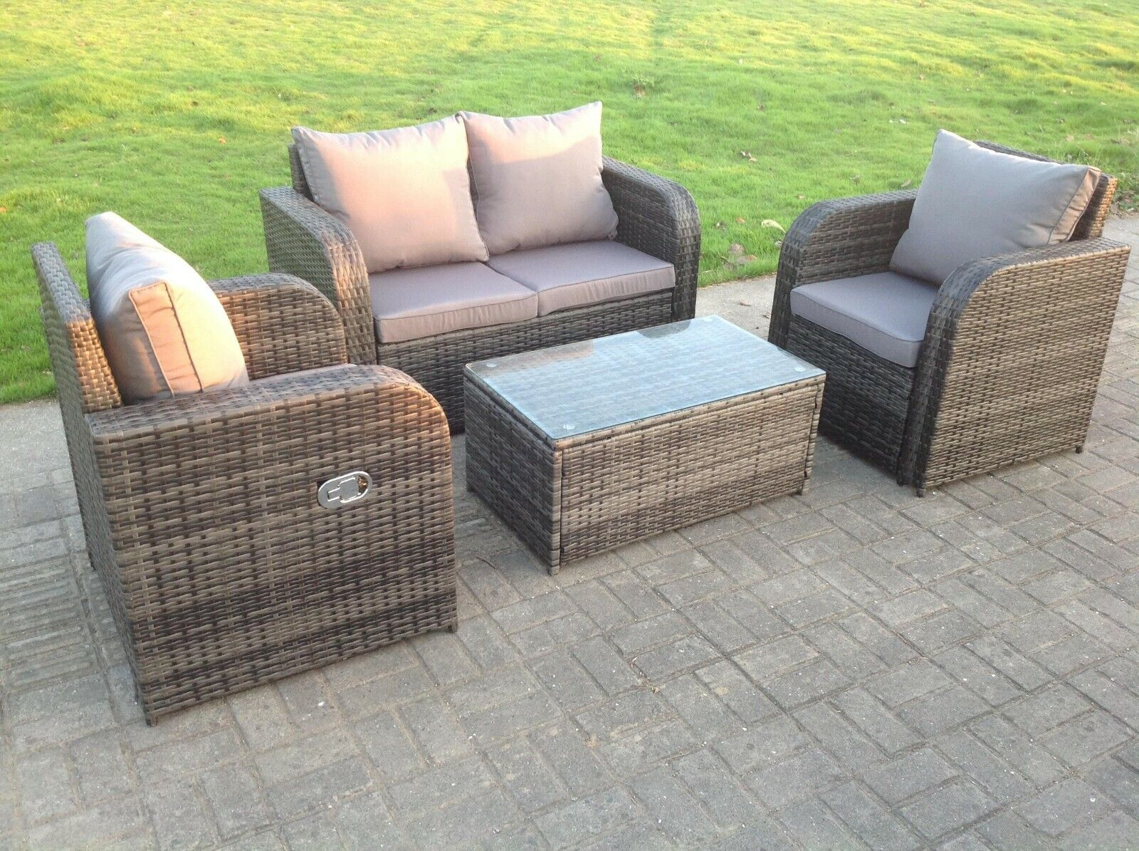 Garden Furniture - 4 Seater Reclining Grey Mixed Rattan Sofa Chair Outdoor Garden Furniture Sets
