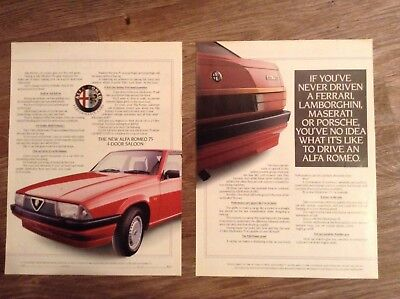 ALFA ROMEO 75 1986 - Period Adverts x 2