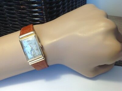 VTG MENS LONGINES 9L SOLID GOLD DRESS WATCH