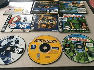 3 jeux de PlayStation NHL 99 asteroids Angry men sarge's heroes