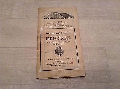 Alter Reiseführer Dresden Stadtplan Sängerhalle Zwinger Frauenkirche Werbung DRG